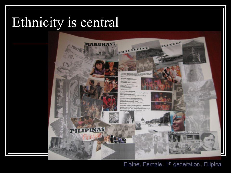 Ethnicity is central Elaine, Female, 1 st generation, Filipina