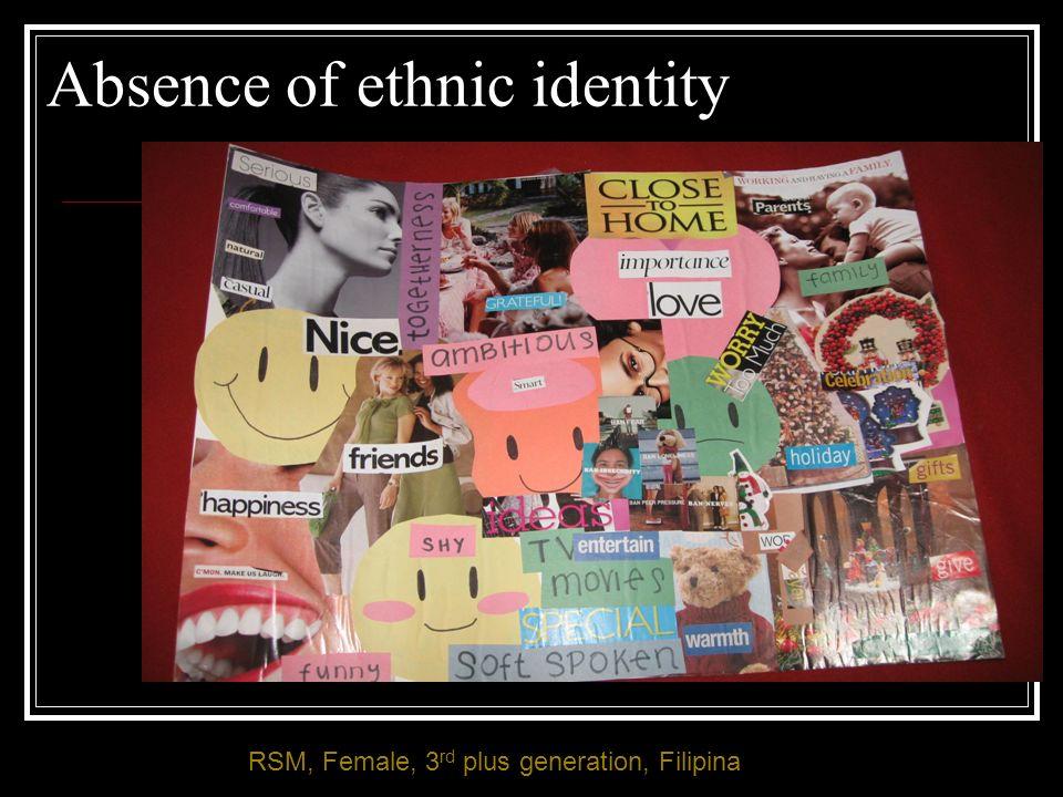 Absence of ethnic identity RSM, Female, 3 rd plus generation, Filipina