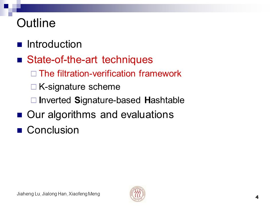 Jiaheng Lu, Jialong Han, Xiaofeng Meng 5 Why pre-pruning is needed We need spot evidence to decide whether a substring m should be extracted Simple verification on all dictionary strings may be inefficient Pre-pruning and post-verifying is beneficial But should it be running-speed-oriented or filtering- power-oriented.