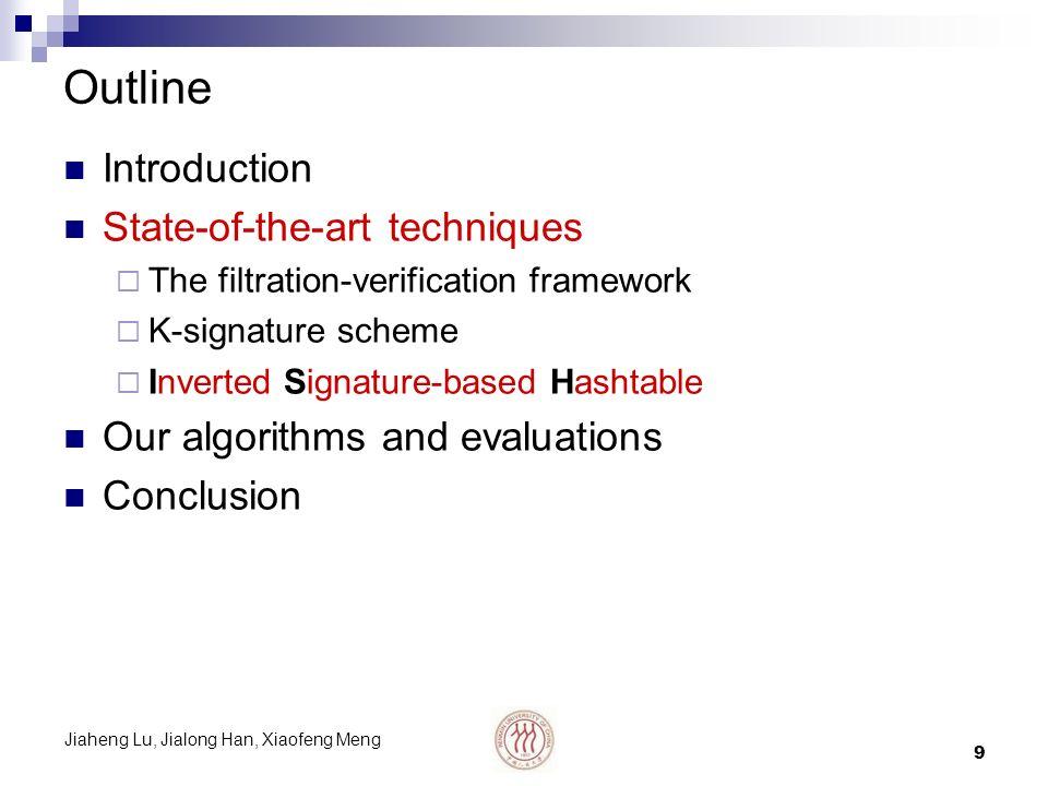 Jiaheng Lu, Jialong Han, Xiaofeng Meng 10 Inverted Signature-based Hashtable Proposed by Chakrabarti et al.