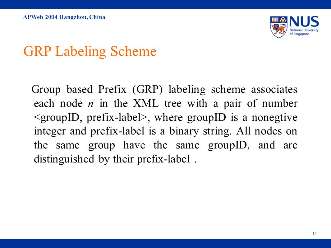 APWeb 2004 Hangzhou, China 17 GRP Labeling Scheme Group based Prefix (GRP) labeling scheme associates each node n in the XML tree with a pair of number, where groupID is a nonegtive integer and prefix-label is a binary string.