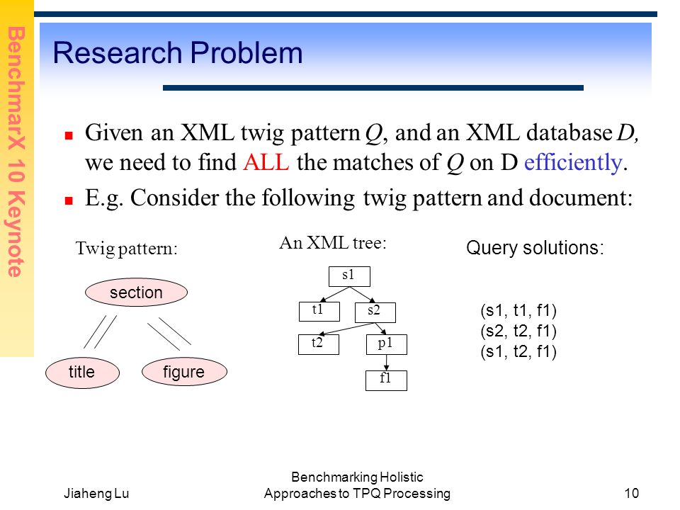 BenchmarX 10 Keynote Jiaheng Lu Benchmarking Holistic Approaches to TPQ Processing10 Research Problem Given an XML twig pattern Q, and an XML database D, we need to find ALL the matches of Q on D efficiently.