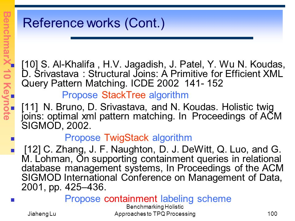 BenchmarX 10 Keynote Jiaheng Lu Benchmarking Holistic Approaches to TPQ Processing100 Reference works (Cont.) [10] S.