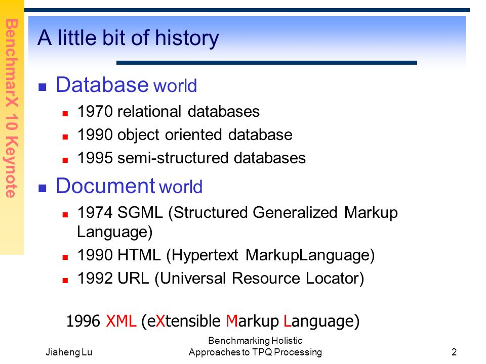 BenchmarX 10 Keynote Jiaheng Lu Benchmarking Holistic Approaches to TPQ Processing2 A little bit of history Database world 1970 relational databases 1990 object oriented database 1995 semi-structured databases Document world 1974 SGML (Structured Generalized Markup Language) 1990 HTML (Hypertext MarkupLanguage) 1992 URL (Universal Resource Locator) 1996 XML (eXtensible Markup Language)