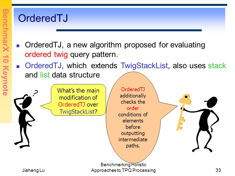 BenchmarX 10 Keynote Jiaheng Lu Benchmarking Holistic Approaches to TPQ Processing33 OrderedTJ OrderedTJ, a new algorithm proposed for evaluating ordered twig query pattern.