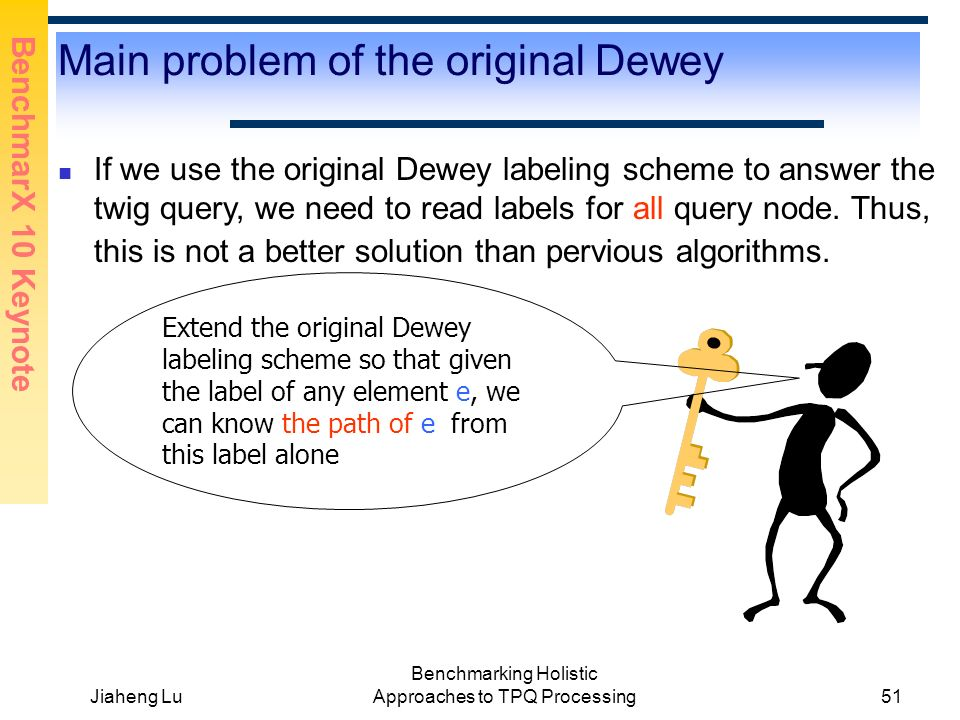 BenchmarX 10 Keynote Jiaheng Lu Benchmarking Holistic Approaches to TPQ Processing51 Main problem of the original Dewey If we use the original Dewey labeling scheme to answer the twig query, we need to read labels for all query node.