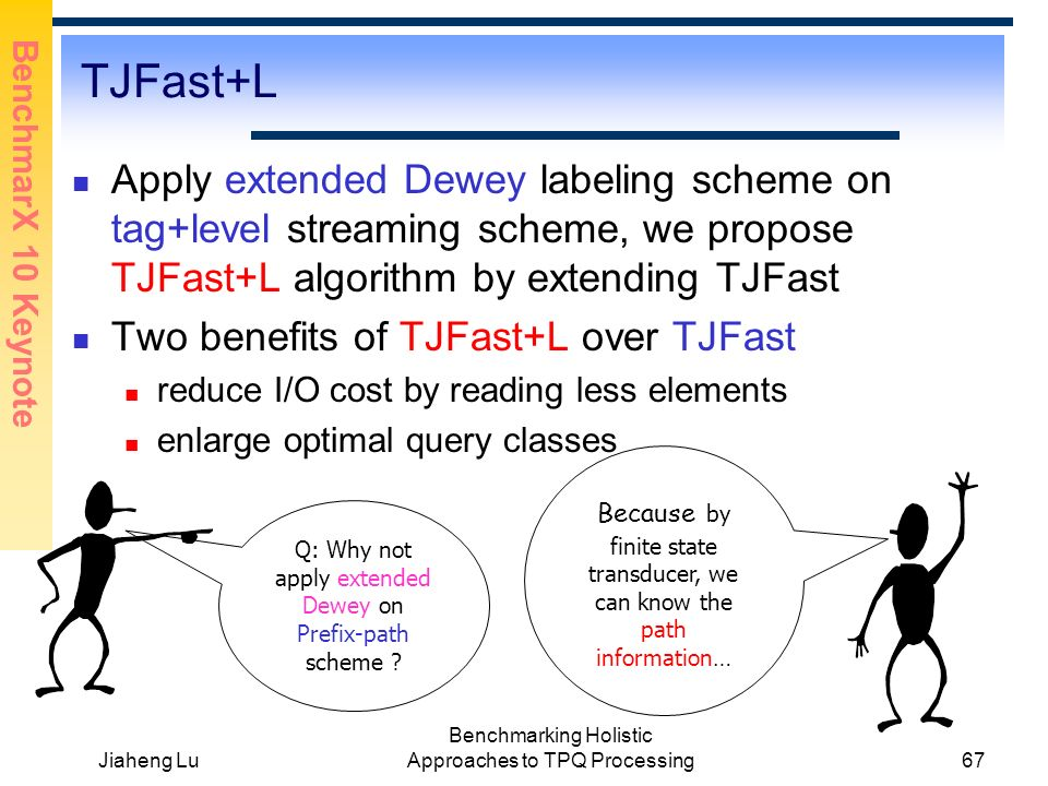 BenchmarX 10 Keynote Jiaheng Lu Benchmarking Holistic Approaches to TPQ Processing67 TJFast+L Apply extended Dewey labeling scheme on tag+level streaming scheme, we propose TJFast+L algorithm by extending TJFast Two benefits of TJFast+L over TJFast reduce I/O cost by reading less elements enlarge optimal query classes Q: Why not apply extended Dewey on Prefix-path scheme .
