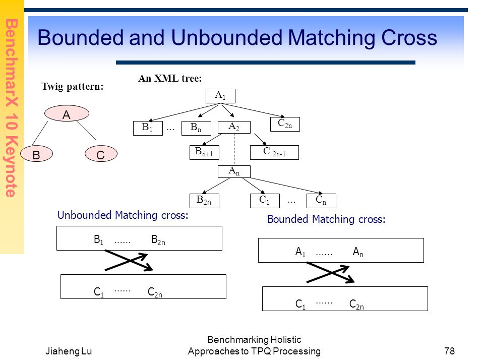 BenchmarX 10 Keynote Jiaheng Lu Benchmarking Holistic Approaches to TPQ Processing78 Bounded and Unbounded Matching Cross Twig pattern: A BC An XML tree: A1A1 C1C1 B1B1 A2A2 B2nB2n C 2n B 1 B 2n C 1 C 2n Unbounded Matching cross: AnAn BnBn … B n+1 C 2n-1 CnCn … …… A 1 A n C 1 C 2n …… Bounded Matching cross: