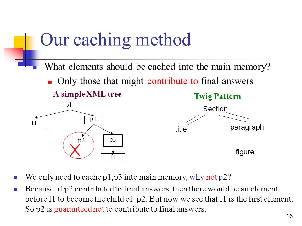 16 Our caching method What elements should be cached into the main memory.