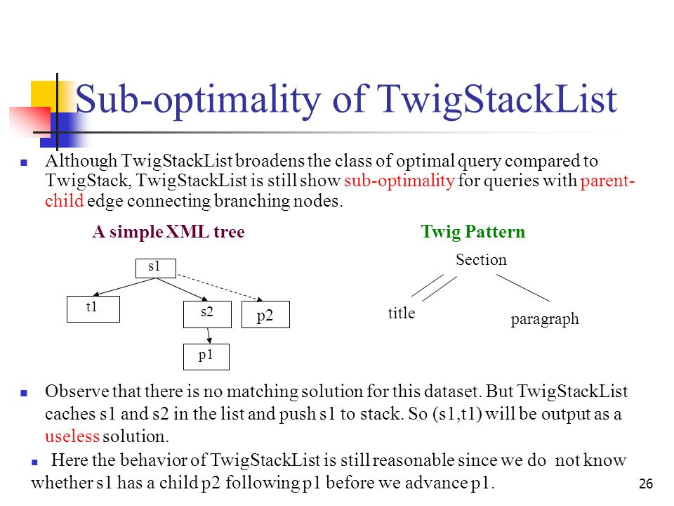26 Sub-optimality of TwigStackList Although TwigStackList broadens the class of optimal query compared to TwigStack, TwigStackList is still show sub-optimality for queries with parent- child edge connecting branching nodes.