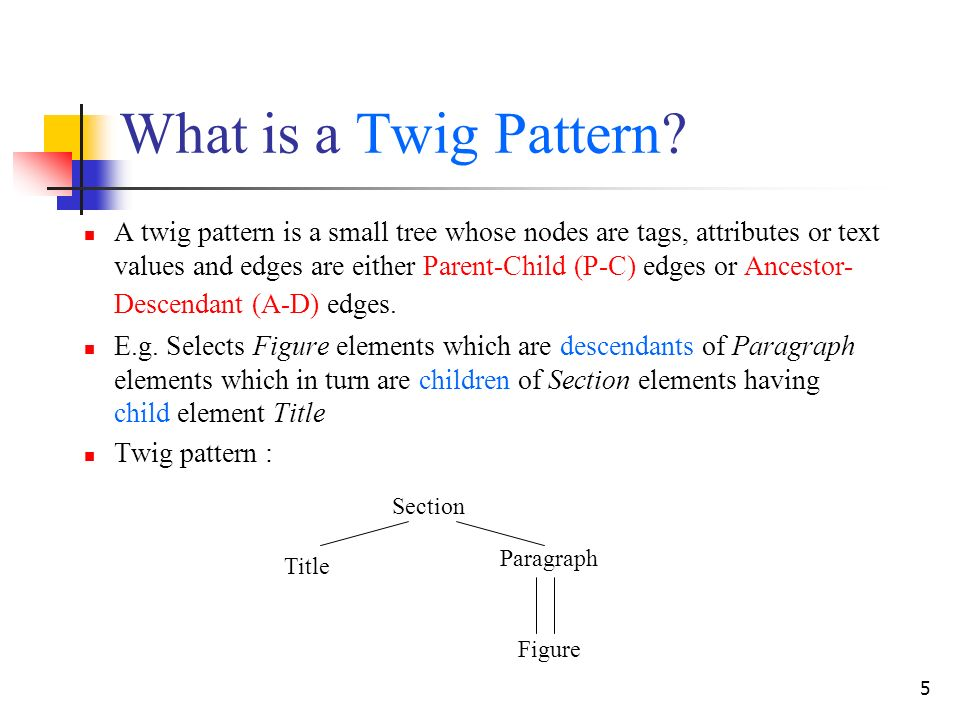 5 What is a Twig Pattern? A twig pattern is a small tree whose nodes are tags, attributes or text values and edges are either Parent-Child (P-C) edges