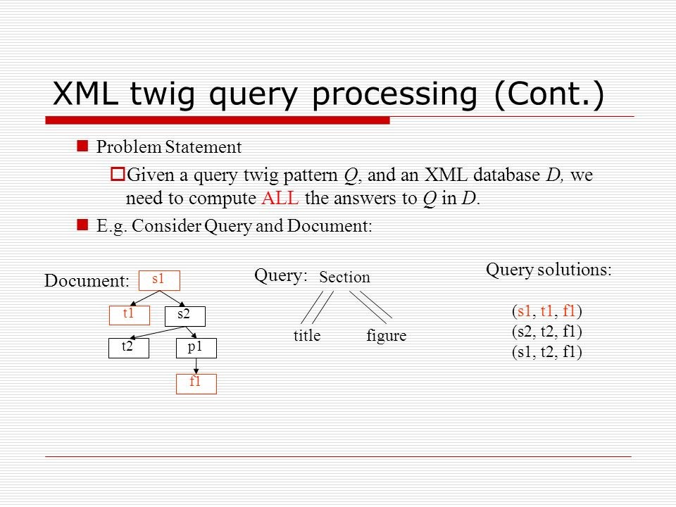 XML twig query processing (Cont.) Problem Statement Given a query twig pattern Q, and an XML database D, we need to compute ALL the answers to Q in D.