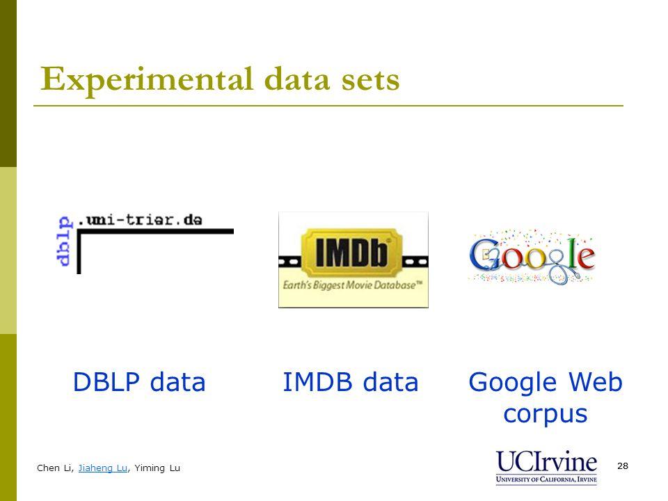 Chen Li, Jiaheng Lu, Yiming Lu 28 Experimental data sets DBLP dataIMDB dataGoogle Web corpus