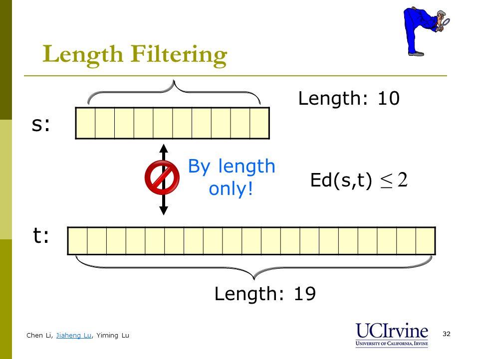 Chen Li, Jiaheng Lu, Yiming Lu 32 Length Filtering Ed(s,t) 2 s: t: Length: 19 Length: 10 By length only!