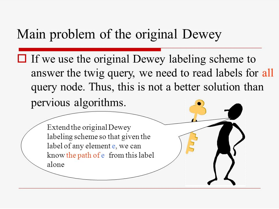Main problem of the original Dewey If we use the original Dewey labeling scheme to answer the twig query, we need to read labels for all query node. T