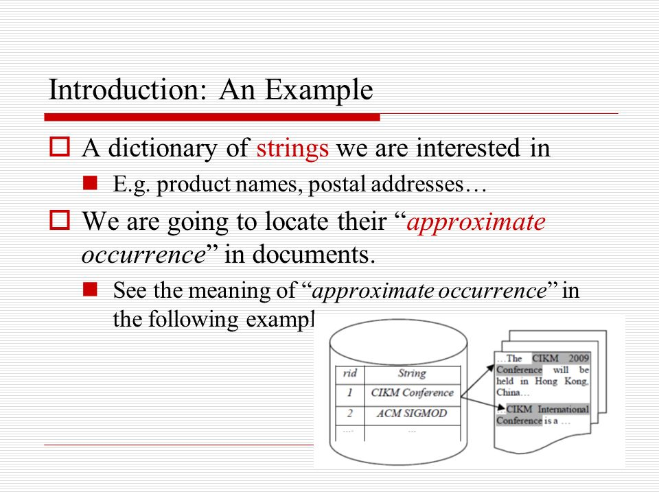Introduction: An Example A dictionary of strings we are interested in E.g.