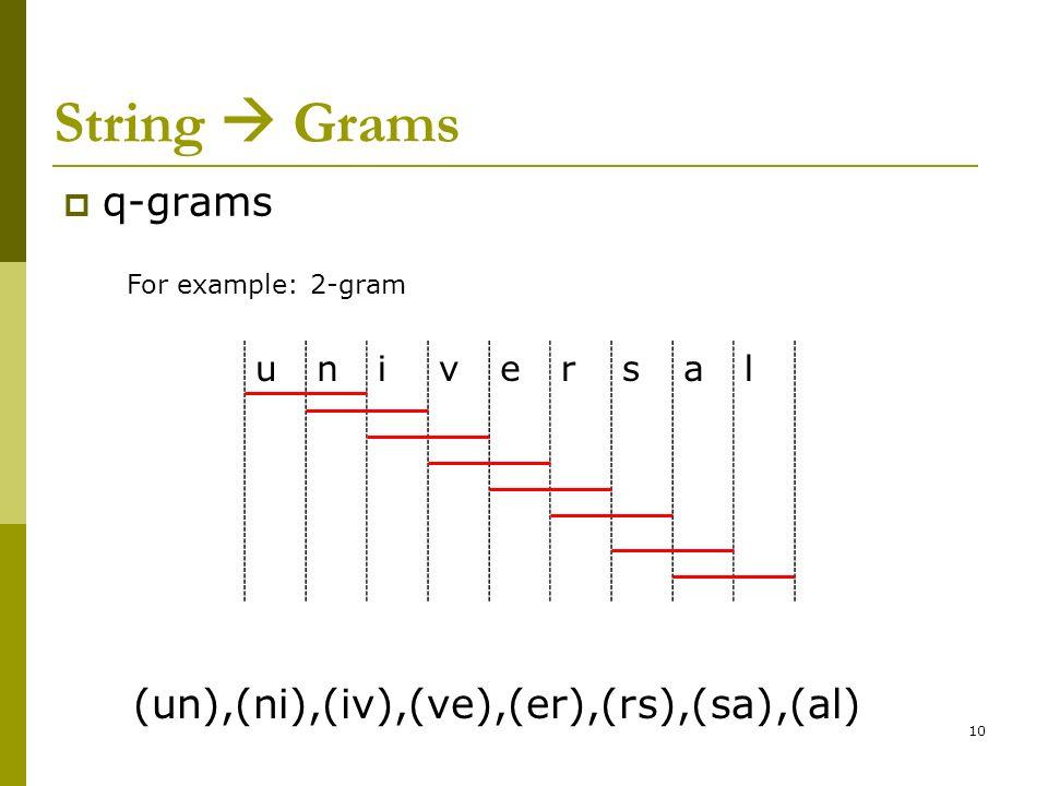 10 String Grams q-grams (un),(ni),(iv),(ve),(er),(rs),(sa),(al) For example: 2-gram universal