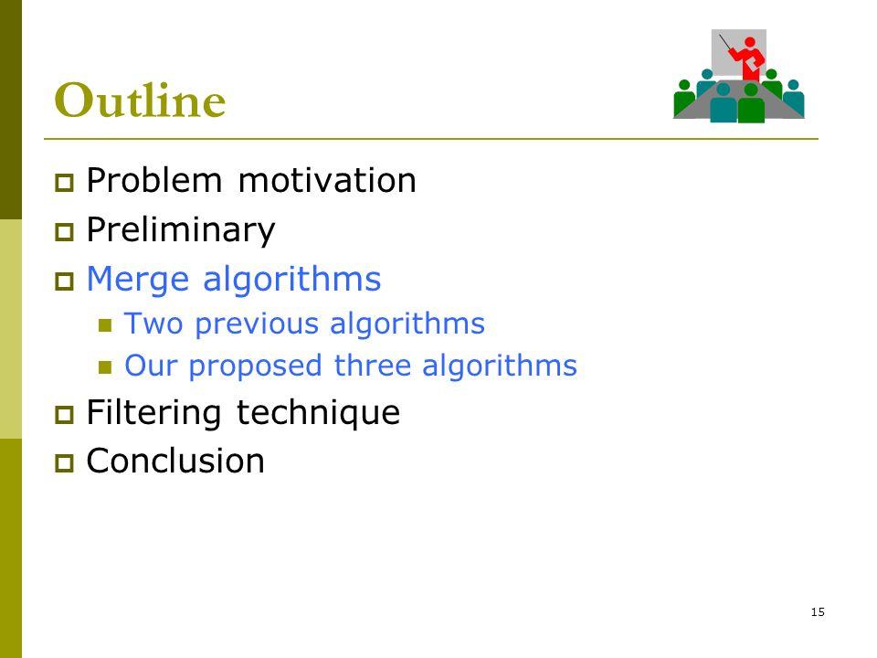 Outline Problem motivation Preliminary Merge algorithms Two previous algorithms Our proposed three algorithms Filtering technique Conclusion