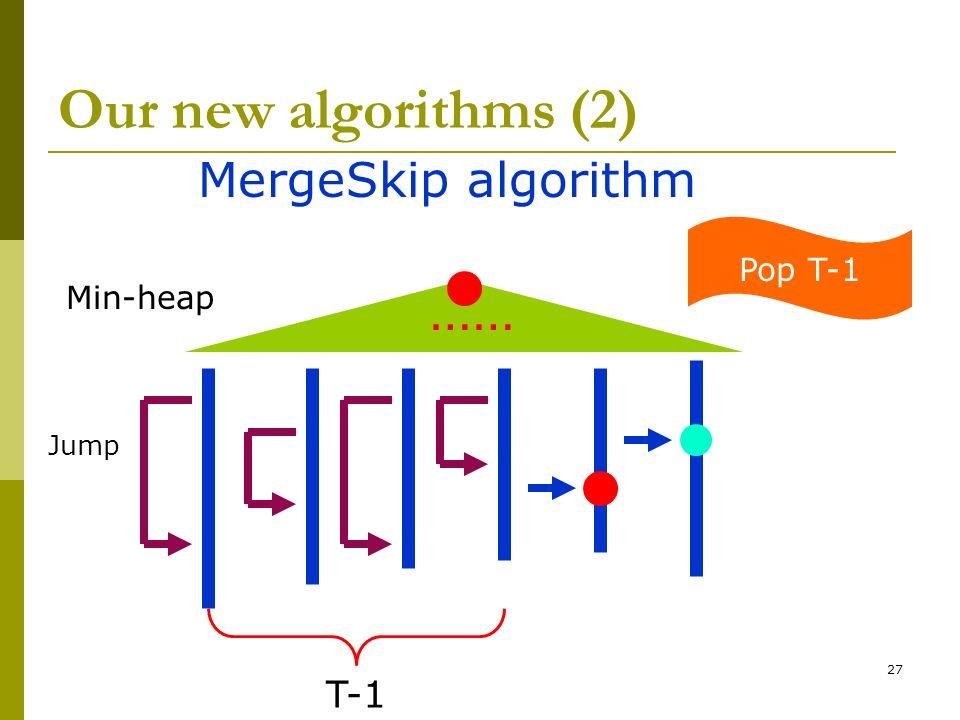 27 Our new algorithms (2) MergeSkip algorithm Min-heap …… Pop T-1 T-1 Jump
