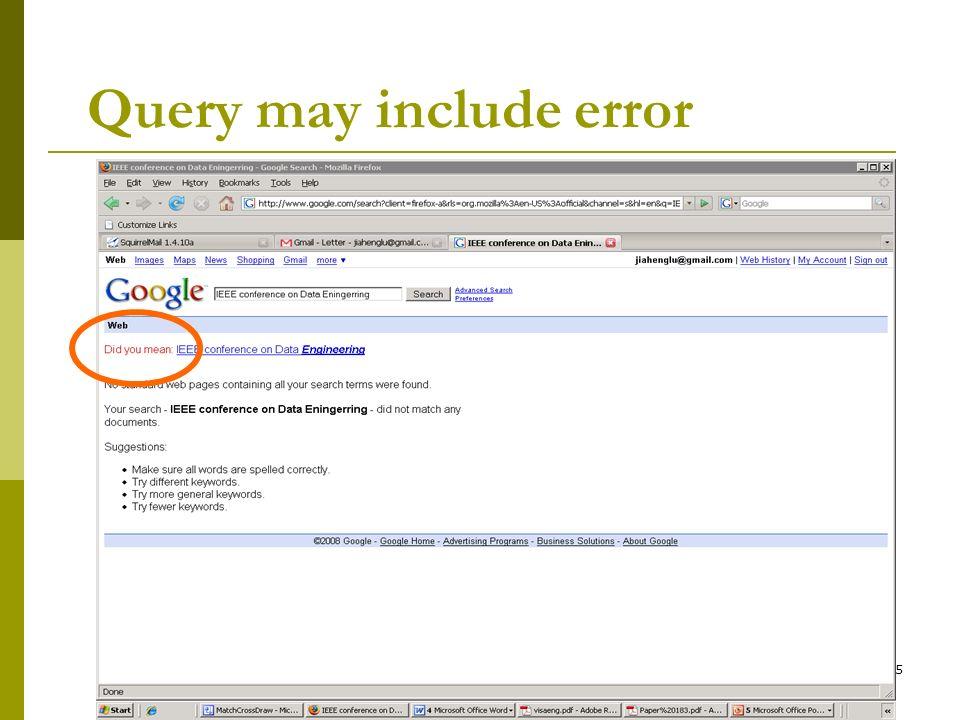 5 Query may include error