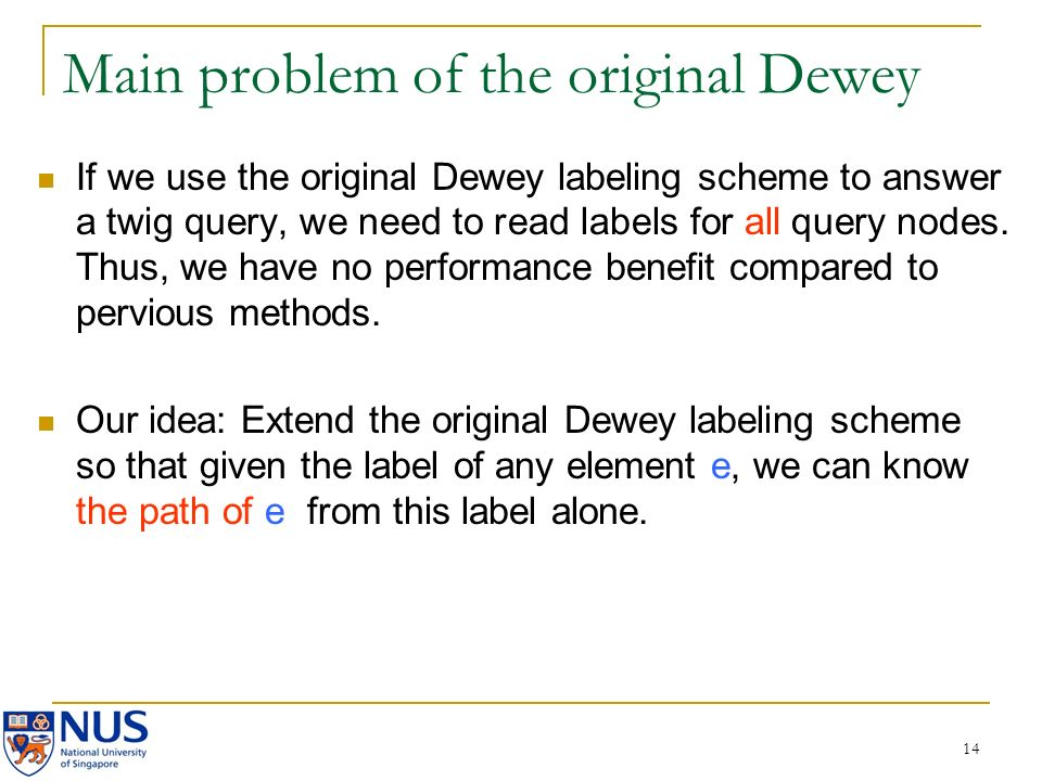 14 Main problem of the original Dewey If we use the original Dewey labeling scheme to answer a twig query, we need to read labels for all query nodes.