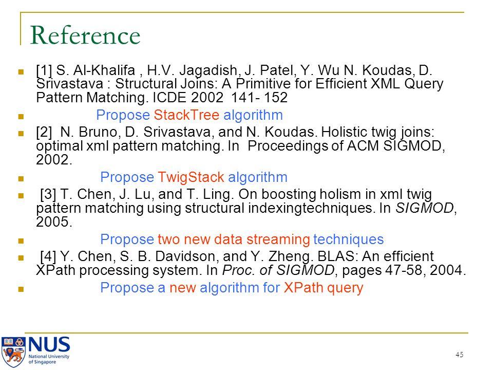 45 Reference [1] S. Al-Khalifa, H.V. Jagadish, J. Patel, Y. Wu N. Koudas, D. Srivastava : Structural Joins: A Primitive for Efficient XML Query Patter