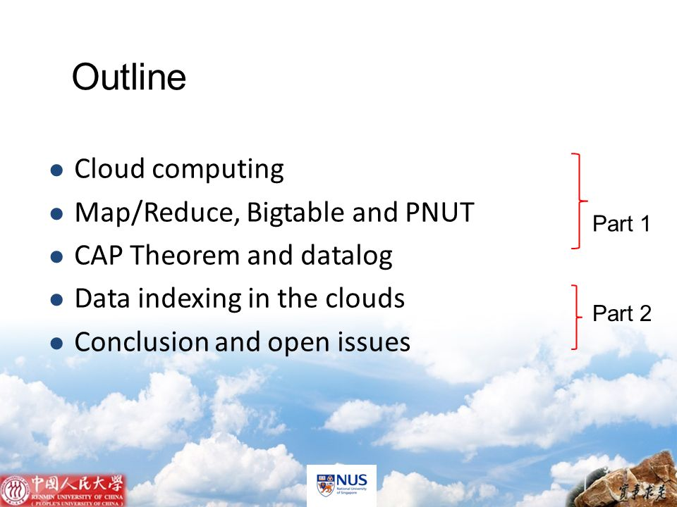 New principle in cloud dta management 1 Partition Everything and key-value storage 1 st normal form cannot be satisfied