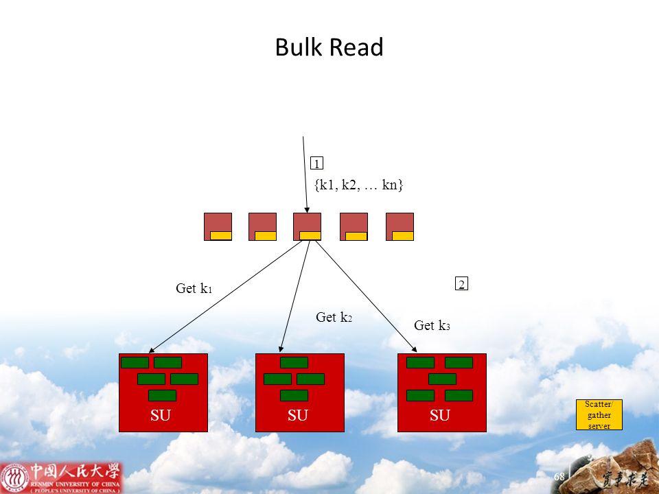 Bulk Read 68 SU Scatter/ gather server SU 1 {k1, k2, … kn} 2 Get k 1 Get k 2 Get k 3