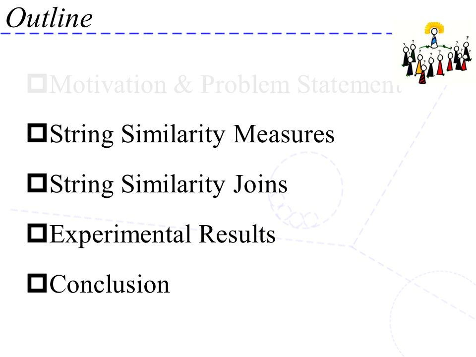 Motivation & Problem Statement String Similarity Measures String Similarity Joins Experimental Results Conclusion Outline
