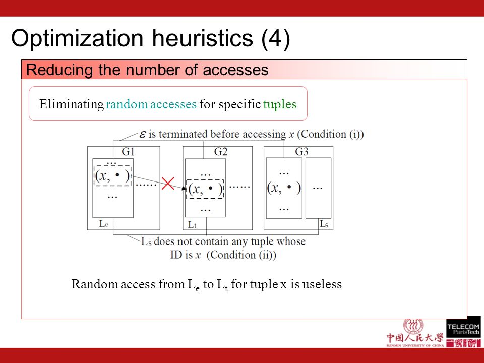 Optimization heuristics (4) Reducing the number of accesses Eliminating random accesses for specific tuples Random access from L e to L t for tuple x is useless