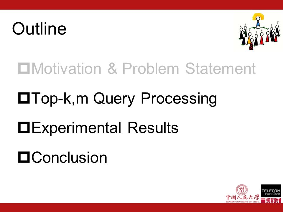 Motivation & Problem Statement Top-k,m Query Processing Experimental Results Conclusion Outline