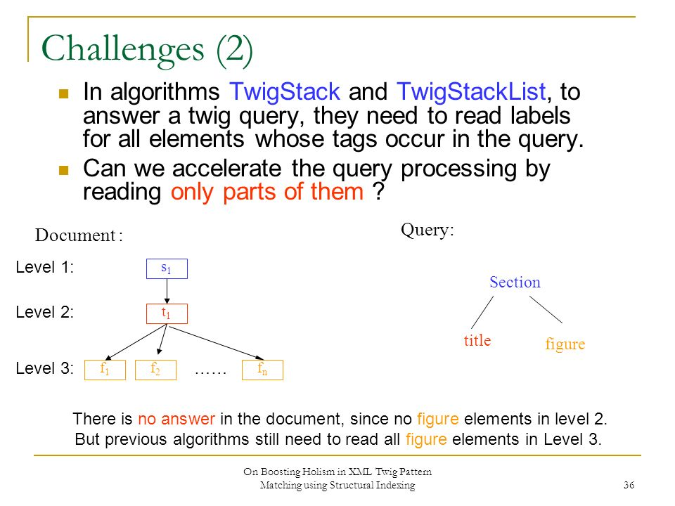 On Boosting Holism in XML Twig Pattern Matching using Structural Indexing 36 Challenges (2) In algorithms TwigStack and TwigStackList, to answer a twig query, they need to read labels for all elements whose tags occur in the query.