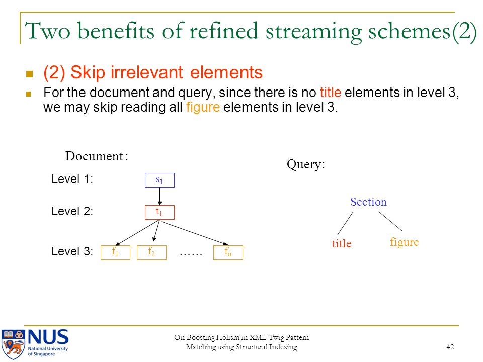On Boosting Holism in XML Twig Pattern Matching using Structural Indexing 42 Two benefits of refined streaming schemes(2) (2) Skip irrelevant elements
