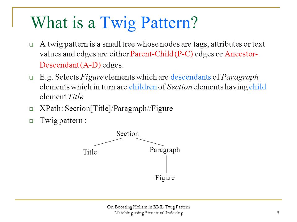 On Boosting Holism in XML Twig Pattern Matching using Structural Indexing 5 What is a Twig Pattern? A twig pattern is a small tree whose nodes are tag