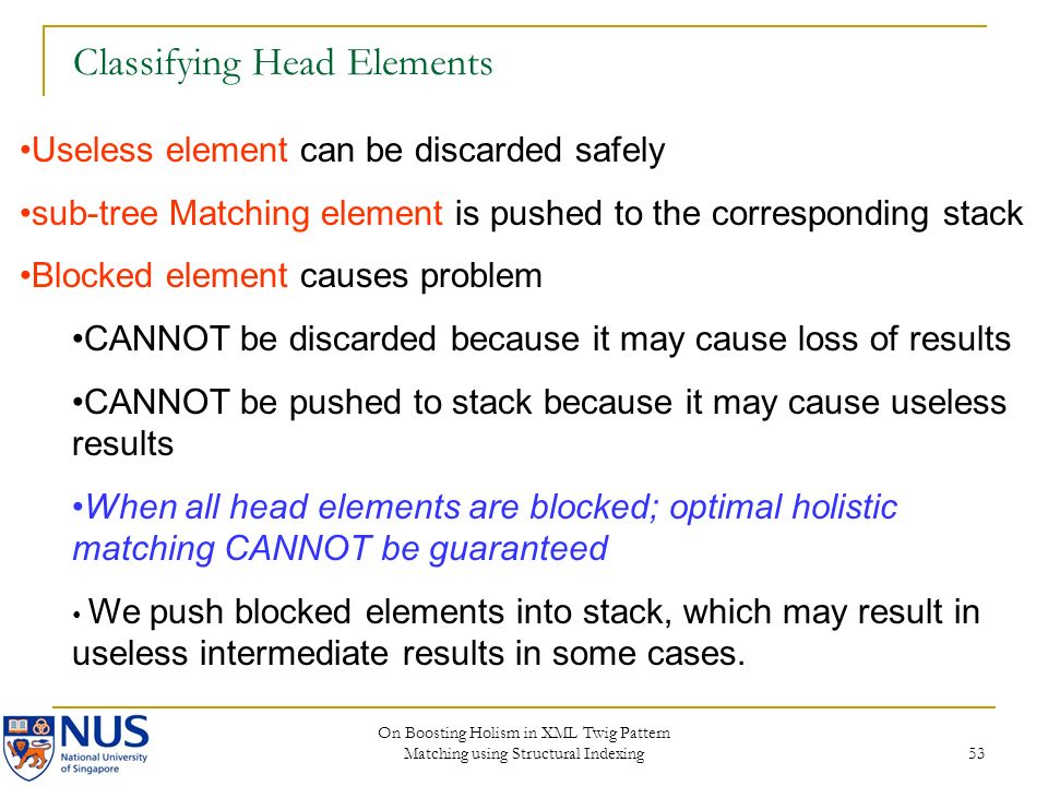 On Boosting Holism in XML Twig Pattern Matching using Structural Indexing 53 Classifying Head Elements Useless element can be discarded safely sub-tree Matching element is pushed to the corresponding stack Blocked element causes problem CANNOT be discarded because it may cause loss of results CANNOT be pushed to stack because it may cause useless results When all head elements are blocked; optimal holistic matching CANNOT be guaranteed We push blocked elements into stack, which may result in useless intermediate results in some cases.