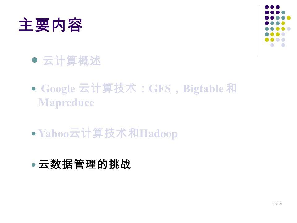 162 Google GFS Bigtable Mapreduce Yahoo Hadoop