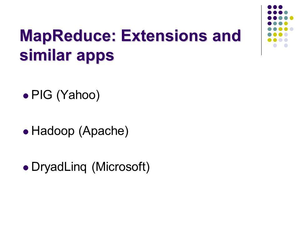 MapReduce: Extensions and similar apps PIG (Yahoo) Hadoop (Apache) DryadLinq (Microsoft)