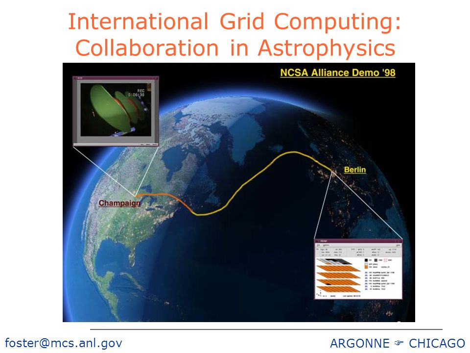 foster@mcs.anl.gov ARGONNE CHICAGO International Grid Computing: Collaboration in Astrophysics