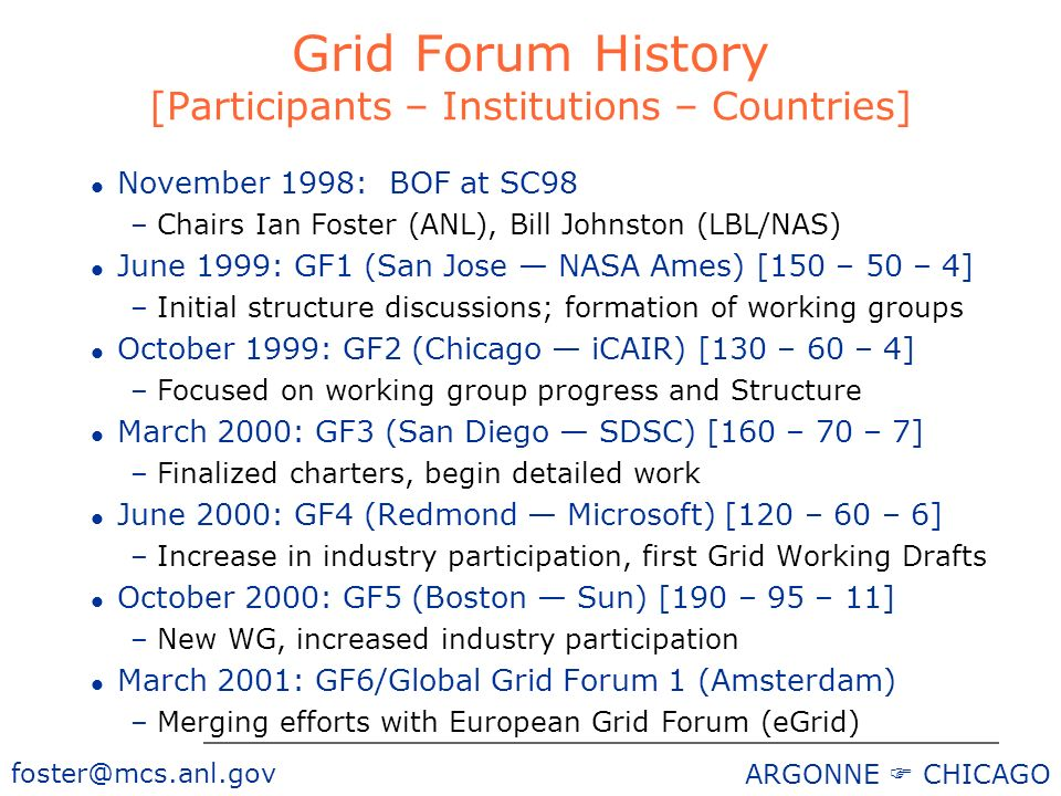 foster@mcs.anl.gov ARGONNE CHICAGO Grid Forum History [Participants – Institutions – Countries] l November 1998: BOF at SC98 –Chairs Ian Foster (ANL), Bill Johnston (LBL/NAS) l June 1999: GF1 (San Jose NASA Ames) [150 – 50 – 4] –Initial structure discussions; formation of working groups l October 1999: GF2 (Chicago iCAIR) [130 – 60 – 4] –Focused on working group progress and Structure l March 2000: GF3 (San Diego SDSC) [160 – 70 – 7] –Finalized charters, begin detailed work l June 2000: GF4 (Redmond Microsoft) [120 – 60 – 6] –Increase in industry participation, first Grid Working Drafts l October 2000: GF5 (Boston Sun) [190 – 95 – 11] –New WG, increased industry participation l March 2001: GF6/Global Grid Forum 1 (Amsterdam) –Merging efforts with European Grid Forum (eGrid)
