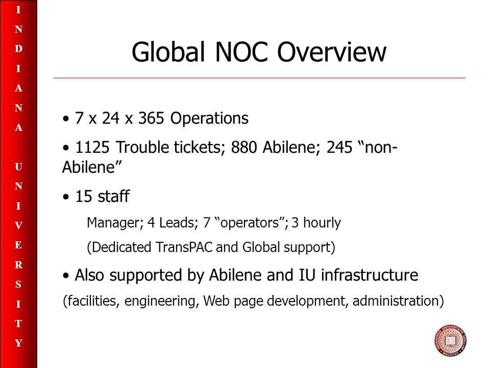 INDIANAUNIVERSITYINDIANAUNIVERSITY Global NOC Overview 7 x 24 x 365 Operations 1125 Trouble tickets; 880 Abilene; 245 non- Abilene 15 staff Manager; 4 Leads; 7 operators; 3 hourly (Dedicated TransPAC and Global support) Also supported by Abilene and IU infrastructure (facilities, engineering, Web page development, administration)