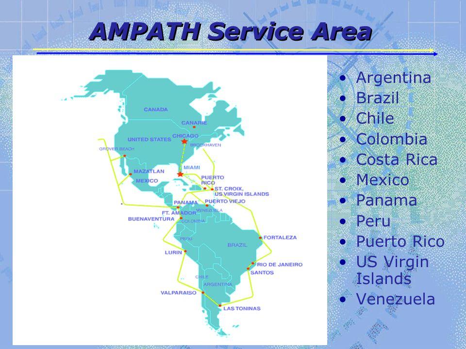 AMPATH Service Area Argentina Brazil Chile Colombia Costa Rica Mexico Panama Peru Puerto Rico US Virgin Islands Venezuela