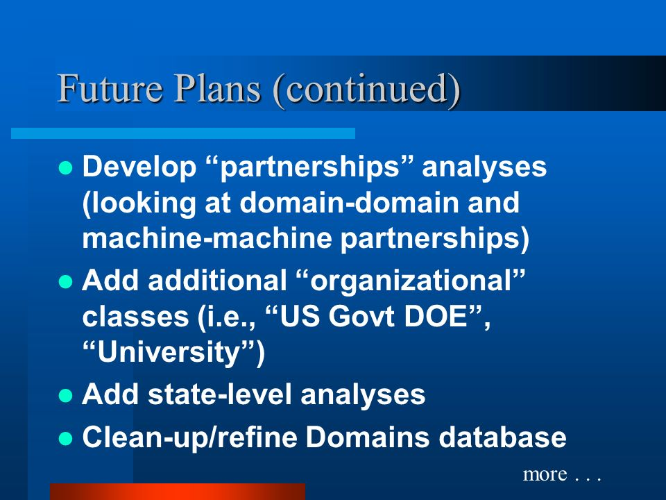 Future Plans (continued) Develop partnerships analyses (looking at domain-domain and machine-machine partnerships) Add additional organizational classes (i.e., US Govt DOE, University) Add state-level analyses Clean-up/refine Domains database more...
