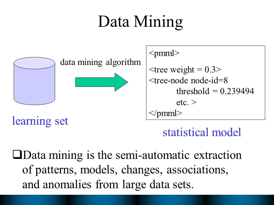 Data Mining Data mining is the semi-automatic extraction of patterns, models, changes, associations, and anomalies from large data sets.