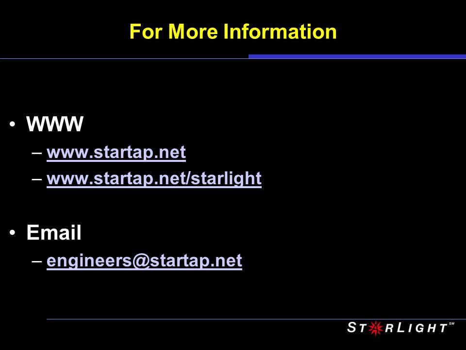 For More Information WWW –www.startap.netwww.startap.net –www.startap.net/starlightwww.startap.net/starlight Email –engineers@startap.netengineers@sta