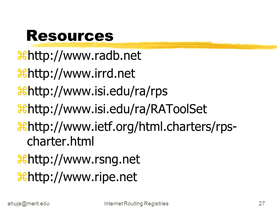 Routing Registries27 Resources zhttp://  zhttp://  zhttp://  zhttp://  zhttp://  charter.html zhttp://  zhttp://