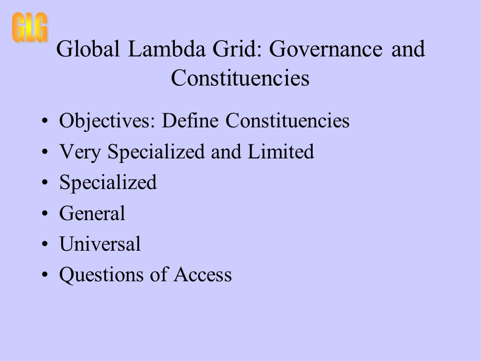 Global Lambda Grid: Governance and Asset Control and Ownership Objective: Define Asset Model Control Over Assets Owned Assets vs Leased vs Services Dark Fiber Metro Assets LH Provider vs Customer Owned