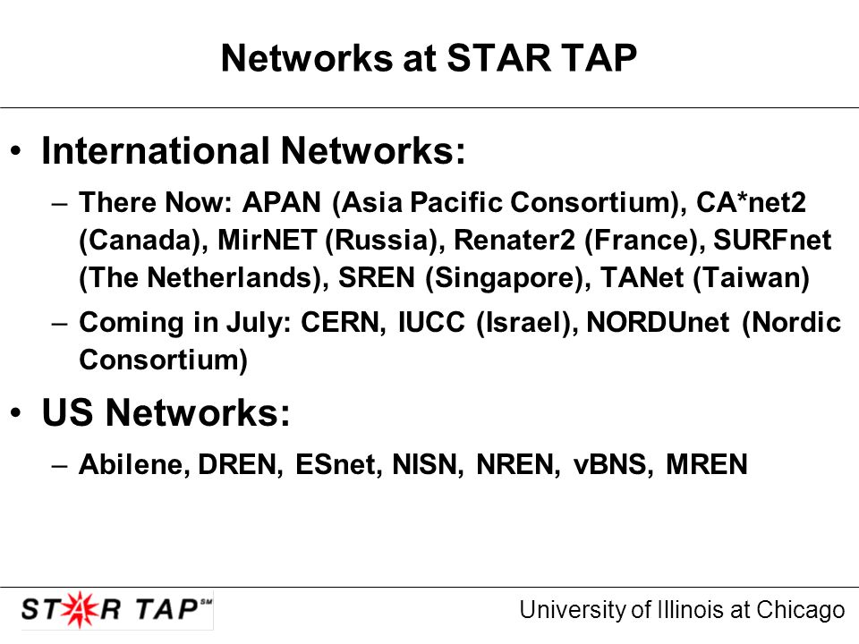 University of Illinois at Chicago Networks at STAR TAP International Networks: –There Now: APAN (Asia Pacific Consortium), CA*net2 (Canada), MirNET (Russia), Renater2 (France), SURFnet (The Netherlands), SREN (Singapore), TANet (Taiwan) –Coming in July: CERN, IUCC (Israel), NORDUnet (Nordic Consortium) US Networks: –Abilene, DREN, ESnet, NISN, NREN, vBNS, MREN