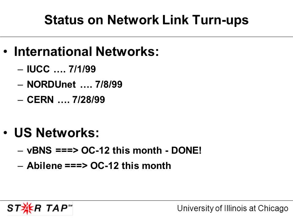 University of Illinois at Chicago Status on Network Link Turn-ups International Networks: –IUCC …. 7/1/99 –NORDUnet …. 7/8/99 –CERN …. 7/28/99 US Netw