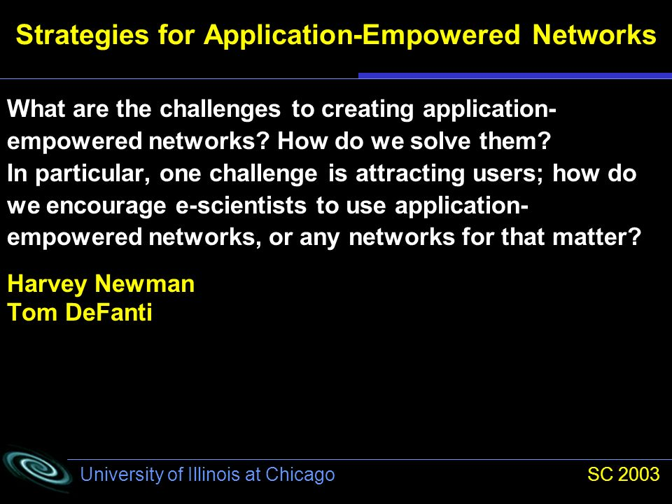 University of Illinois at Chicago SC 2003 Strategies for Application-Empowered Networks How are government-funded facilities (and networks) today addressing the needs of high-performance applications.