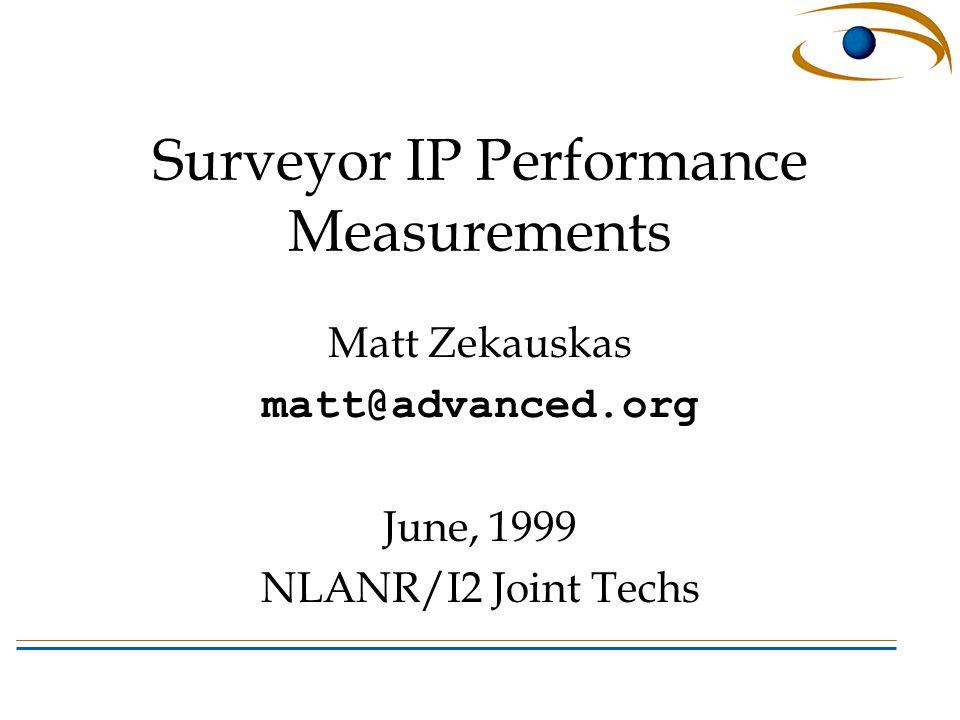 Surveyor IP Performance Measurements Matt Zekauskas matt@advanced.org June, 1999 NLANR/I2 Joint Techs